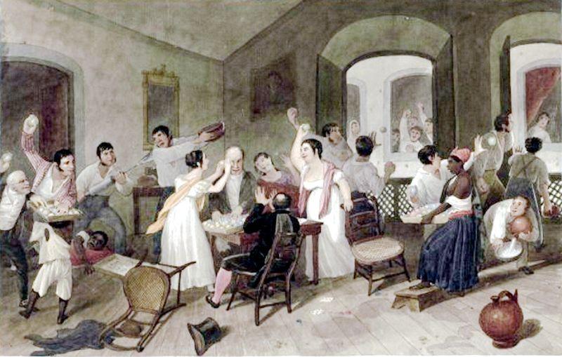 Pintura de uma grande festa com pessoas brincando de jogar comidas uma nas outras